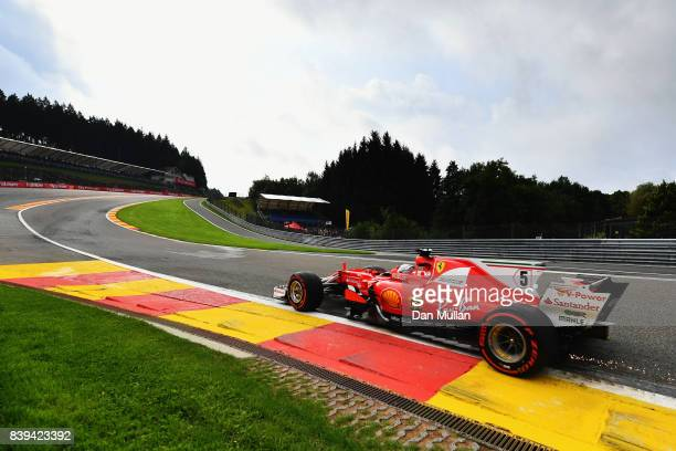 Sebastian Vettel of Germany driving the Scuderia Ferrari SF70H on track during final practice for the Formula One Grand Prix of Belgium at Circuit de...