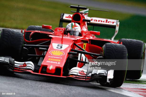 Sebastian Vettel of Germany driving the Scuderia Ferrari SF70H on track during qualifying for the Formula One Grand Prix of Italy at Autodromo di...