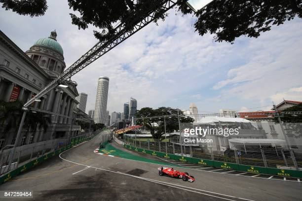 Sebastian Vettel of Germany driving the Scuderia Ferrari SF70H on track during practice for the Formula One Grand Prix of Singapore at Marina Bay...