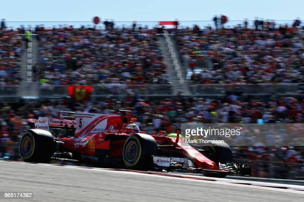 Sebastian Vettel of Germany driving the Scuderia Ferrari SF70H on track during the United States Formula One Grand Prix at Circuit of The Americas on...