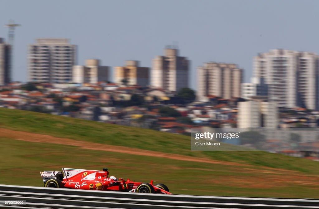 Sebastian Vettel of Germany driving the (5) Scuderia Ferrari SF70H on track during the Formula One Grand Prix of Brazil at Autodromo Jose Carlos Pace on November 12, 2017 in Sao Paulo, Brazil.