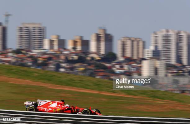 Sebastian Vettel of Germany driving the Scuderia Ferrari SF70H on track during the Formula One Grand Prix of Brazil at Autodromo Jose Carlos Pace on...