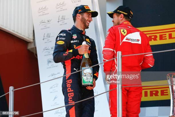 Sebastian Vettel team Ferrari second position and Daniel Ricciardo team Red Bull third position on the podium during the Formula One GP of Spain 2017...