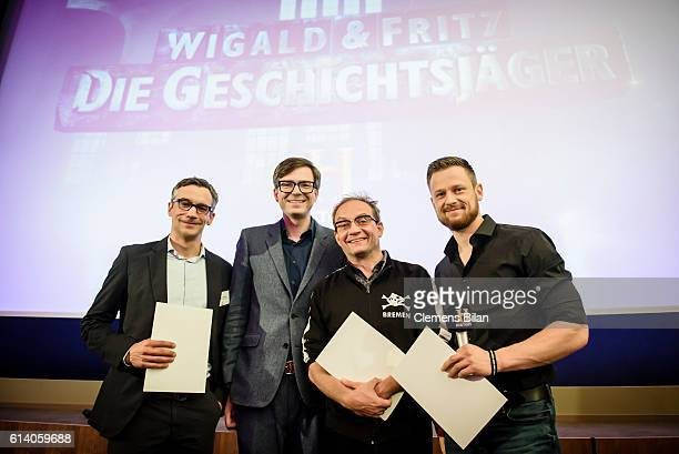 Sebastian Wilhelmi Ralph Caspers Wigald Boning Fritz Meinecke attend the preview screening of the new series 'Wigald Fritz Die Geschichtsjaeger' by...