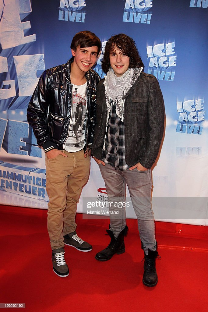Sebastian Wurth and Dominik Buechele attend the Ice Age Live! gala premiere at ISS Dome on November 12, 2012 in Duesseldorf, Germany.