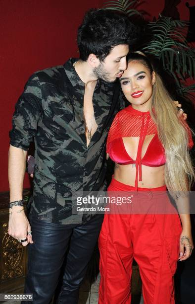 Sebastian Yatra and Karol G attend the Spectrum Presents Sebastian Yatra Powered by Pandora on October 18 2017 in Tampa Florida