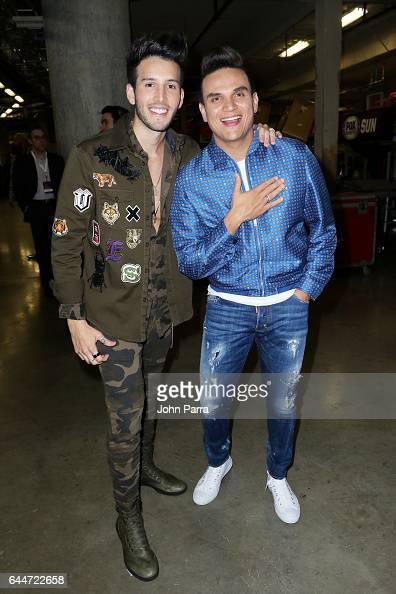 Sebastian Yatra and Silvestre Dangond pose backstage of Univision's 29th Edition of Premio Lo Nuestro A La Musica Latina at the American Airlines...
