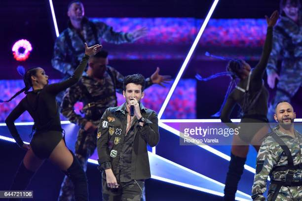 Sebastian Yatra performs onstage during Univision's 29th Edition of Premio Lo Nuestro A La Musica Latina at the American Airlines Arena on February...