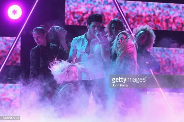 Sebastian Yatra rehearses on stage at Univision's 29th Edition Of Premio Lo Nuestro A La Musica Latina Rehearsals Day 1 on February 20 2017 in Miami...