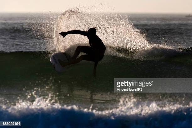 Sebastian Zietz from the US performs during the Quicksilver Pro France surf competition on October 14 2017 in Hossegor France The French stage of the...