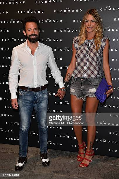 Sebastiano Lombardi and Elenoire Casalegno attend the John Richmond show during the Milan Men's Fashion Week Spring/Summer 2016 on June 21 2015 in...