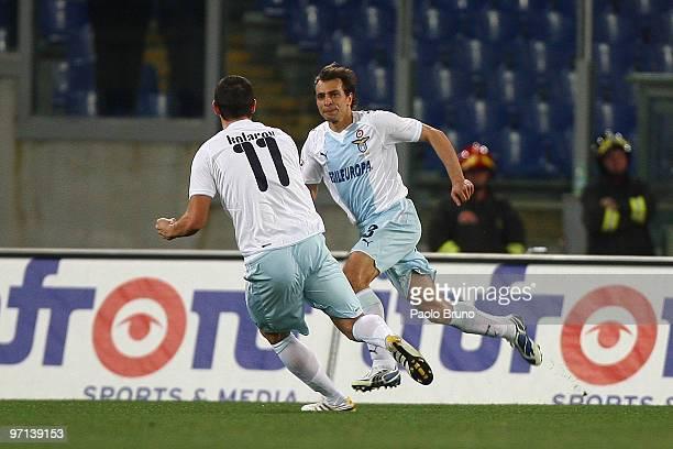 Sebastiano Siviglia and Alexander Kolarov of SS Lazio celebrate the opening goal during the Serie A match between Lazio and Fiorentina at Stadio...