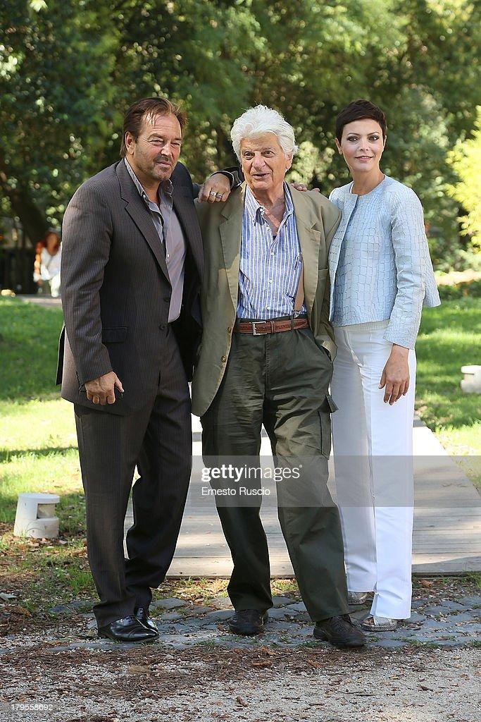 Sebastiano Somma, Luigi Perelli and Vittoria Belvedere attend the 'Un Caso Di Coscienza 5' photocall at Casa del Cinema on September 5, 2013 in Rome, Italy.