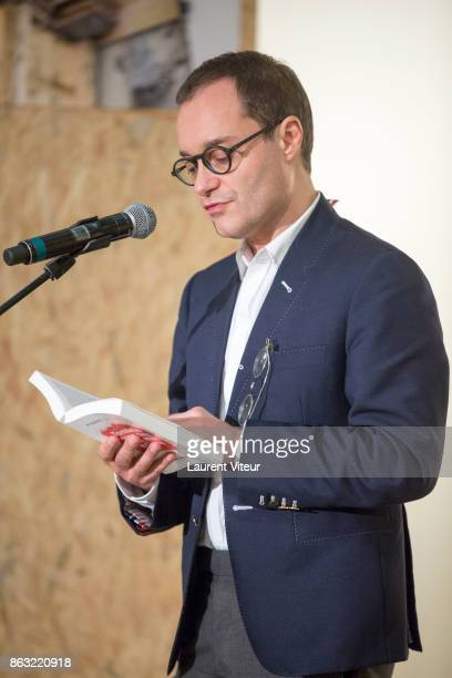 Sebastien Allard reads 'Tombeau pour Cinq Cent Mille Soldats' for 50th anniversary of the book at Azzedine Alaia Gallery on October 19 2017 in Paris...