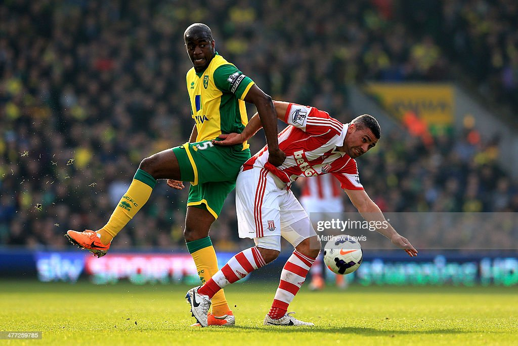 Sebastien Bassong of Norwich and Jonathan Walters of Stoke compoete for the ball during the Barclays Premier League match between Norwich and Stoke...