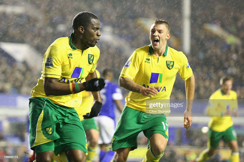 <a gi-track='captionPersonalityLinkClicked' href=/galleries/search?phrase=Sebastien+Bassong&family=editorial&specificpeople=2096918 ng-click='$event.stopPropagation()'>Sebastien Bassong</a> of Norwich City celebrates after scoring the equaliser with team mate Anthony Pilkington (R) during the Barclays Premier League match between Everton and Norwich City at Goodison Park on November 24, 2012 in Liverpool, England.
