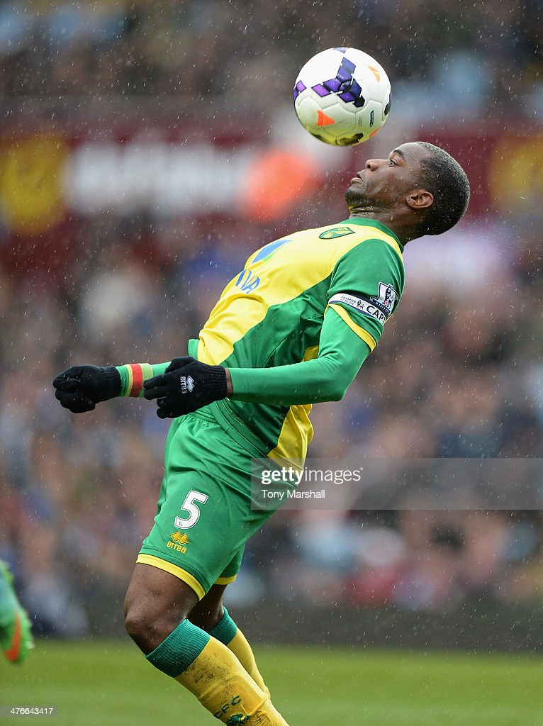 Sebastien Bassong of Norwich City during the Barclays Premier League match between Aston Villa and Norwich City at Villa Park on March 2 2014 in...