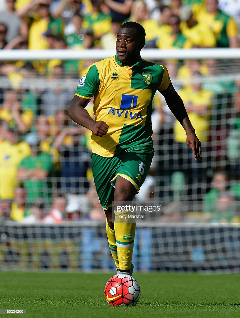 Sebastien Bassong of Norwich City during the Barclays Premier League match between Norwich City and Stoke City at Carrow Road on August 22 2015 in...