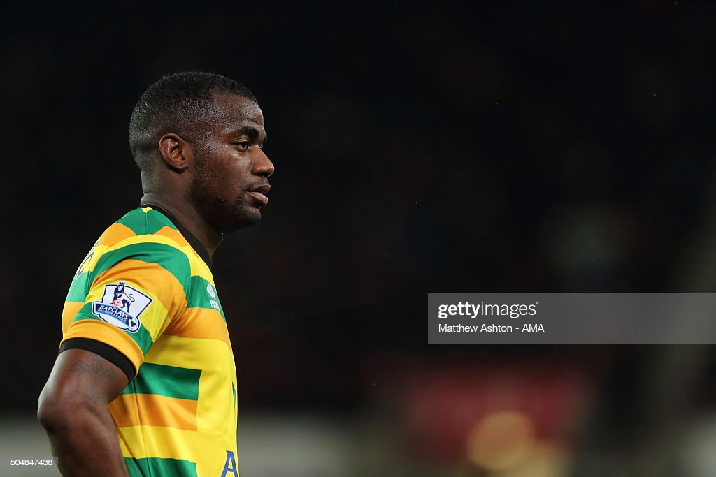 Sebastien Bassong of Norwich City during the Barclays Premier League match between Stoke City and Norwich City at the Britannia Stadium on January 13...