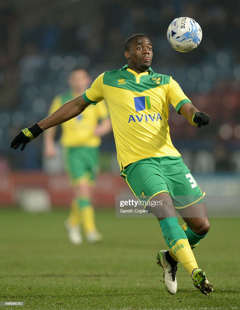 Sebastien Bassong of Norwich City during the Sky Bet Championship between Huddersfield Town and Norwich City at John Smiths Stadium on March 17 2015...