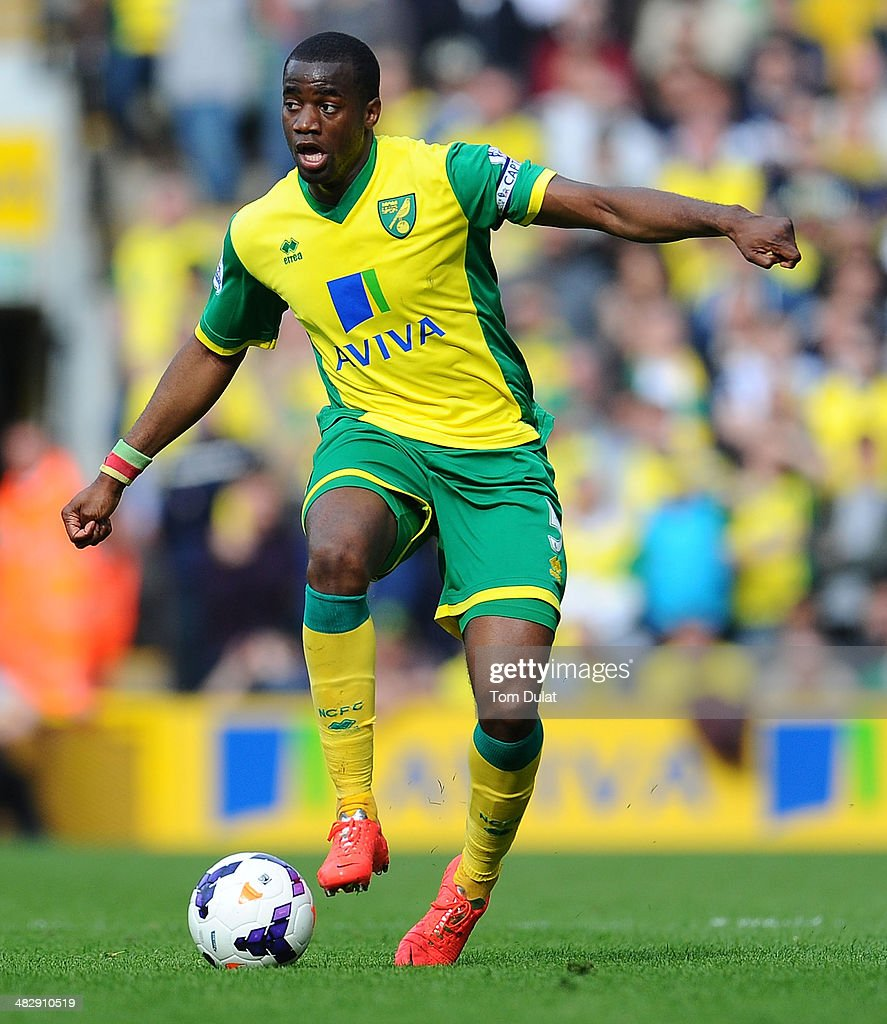 Sebastien Bassong of Norwich City in action during the Barclays Premier League match between Norwich City and West Bromwich Albion at Carrow Road on...