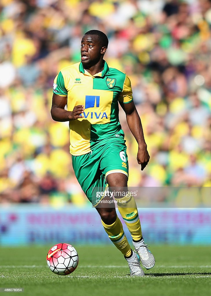Sebastien Bassong of Norwich City in action during the Barclays Premier League match between Norwich City and AFC Bournemouth on September 12 2015 in...