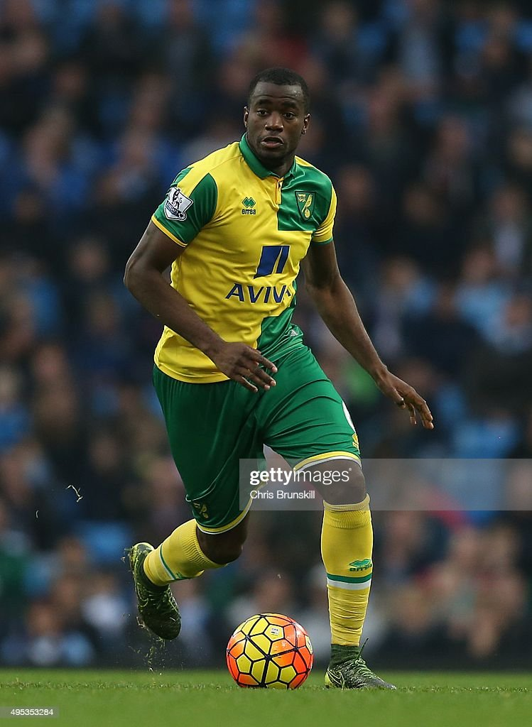 Sebastien Bassong of Norwich City in action during the Barclays Premier League match between Manchester City and Norwich City at Etihad Stadium on...