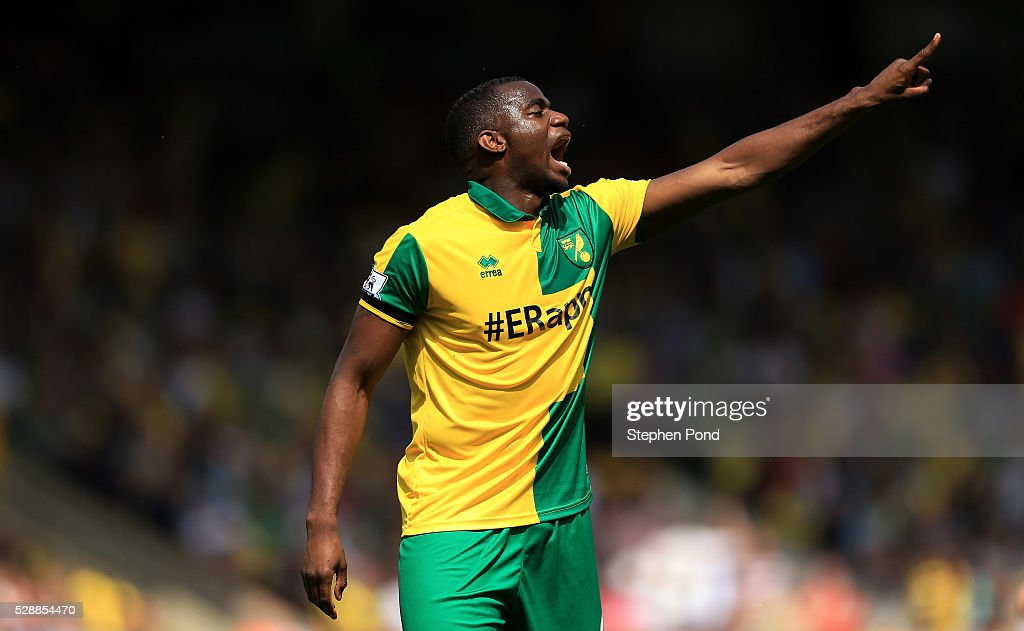 Sebastien Bassong of Norwich City in action during the Barclays Premier League match between Norwich City and Manchester United at Carrow Road on May...