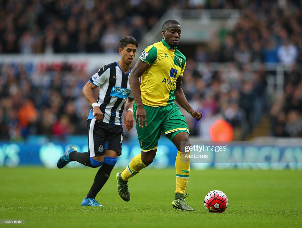 Sebastien Bassong of Norwich City is chased by Ayoze Perez of Newcastle United during the Barclays Premier League match between Newcastle United and...