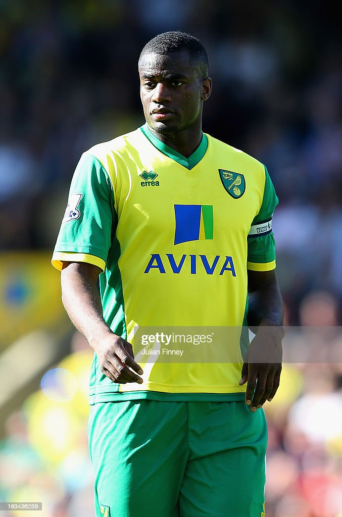 Sebastien Bassong of Norwich City looks on during the Barclays Premier League match between Norwich City and Chelsea at Carrow Road on October 6 2013...