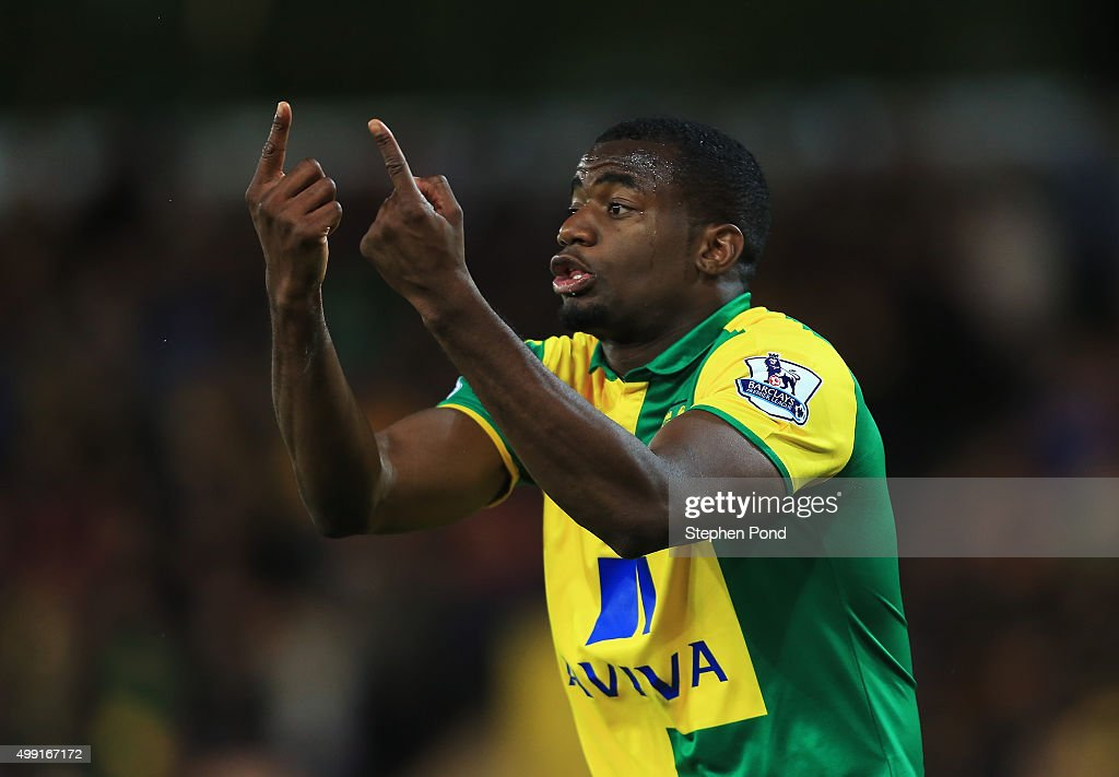 Sebastien Bassong of Norwich City reacts during the Barclays Premier League match between Norwich City and Arsenal at Carrow Road on November 29 2015...