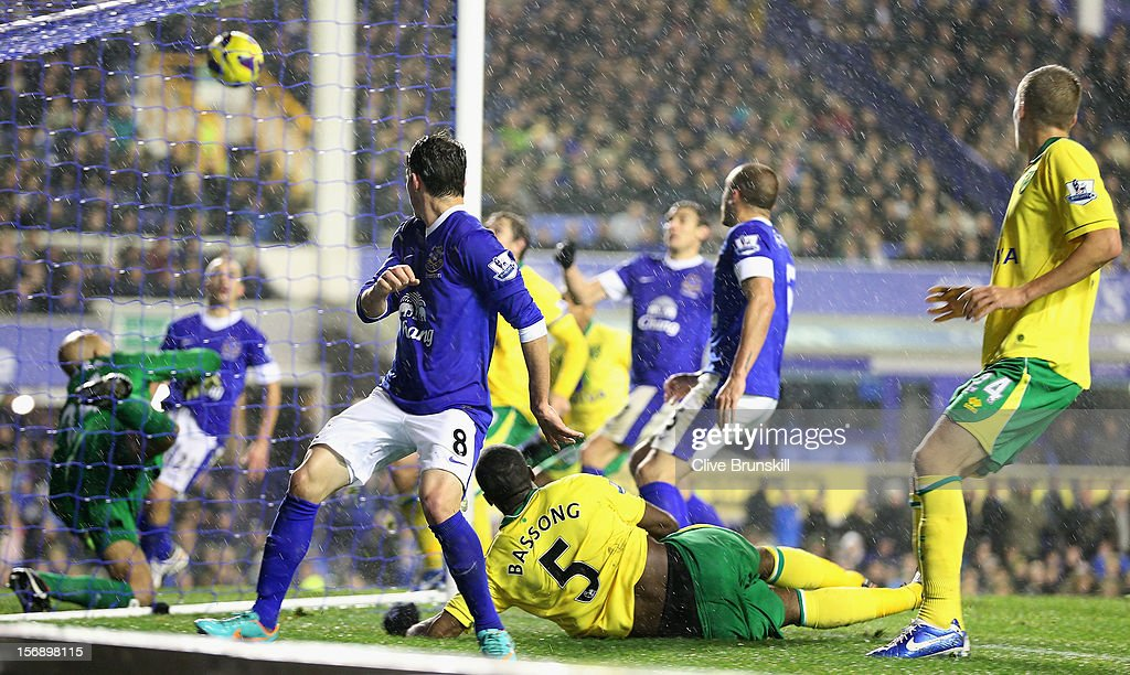 <a gi-track='captionPersonalityLinkClicked' href=/galleries/search?phrase=Sebastien+Bassong&family=editorial&specificpeople=2096918 ng-click='$event.stopPropagation()'>Sebastien Bassong</a> of Norwich City (5) watches as he beats <a gi-track='captionPersonalityLinkClicked' href=/galleries/search?phrase=Tim+Howard+-+Soccer+Player&family=editorial&specificpeople=11515558 ng-click='$event.stopPropagation()'>Tim Howard</a> of Everton to score the equaliser during the Barclays Premier League match between Everton and Norwich City at Goodison Park on November 24, 2012 in Liverpool, England.
