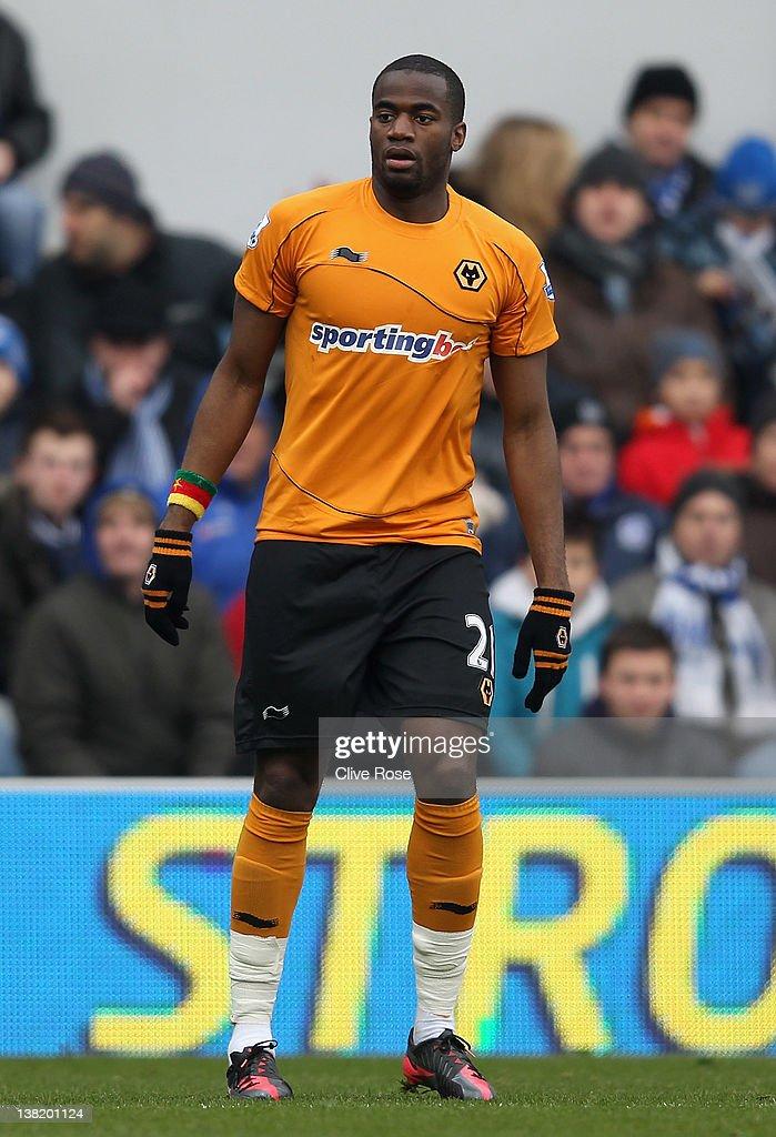 Sebastien Bassong of Wolverhampton Wanderers looks on during the Barclays Premier League match between Queens Park Rangers and Wolverhampton...
