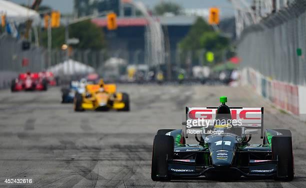 Sebastien Bourdais of France driver of the KVSH Racing Dallara Chevrolet leads the field during race 1 of the Verizon IndyCar Series Honda Indy...