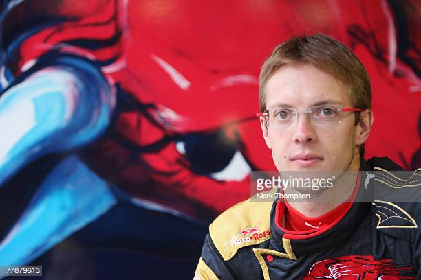 Sebastien Bourdais of France prepares to test drive for Toro Rosso during Formua One Testing at the Circuit de Catalunya on November 13 2007 in...