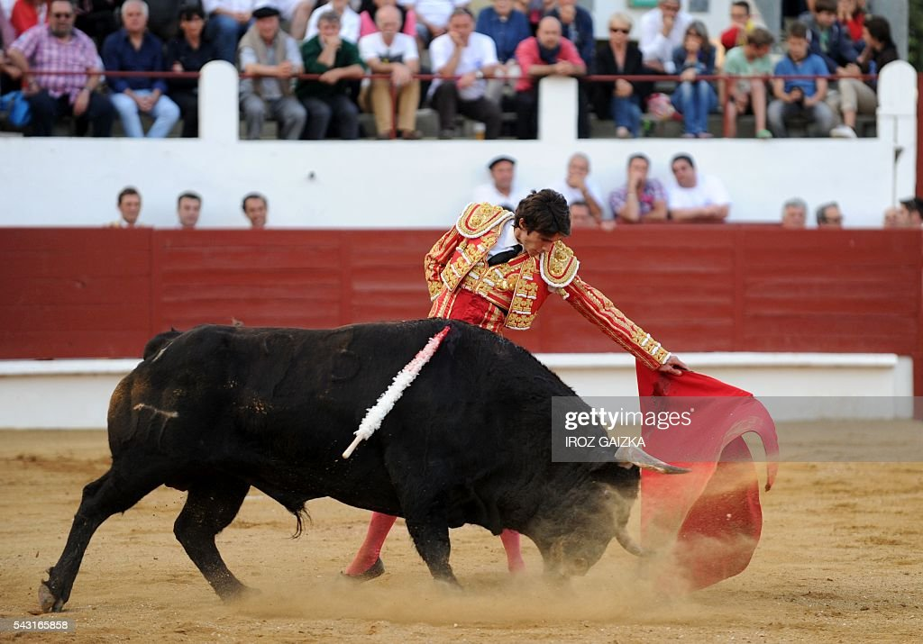 Sebastien Castella performs a pass on an El Pilar bull during a bullfight at Morlanne arena in Saint-Sever, southwestern France, on June 26, 2016. / AFP / IROZ