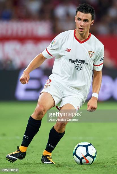 Sebastien Corchia of Sevilla FC in action during the La Liga match between Sevilla and Espanyol at Estadio Ramon Sanchez Pizjuan on August 19 2017 in...