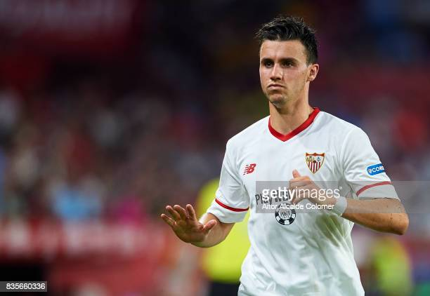 Sebastien Corchia of Sevilla FC looks on during the La Liga match between Sevilla and Espanyol at Estadio Ramon Sanchez Pizjuan on August 19 2017 in...