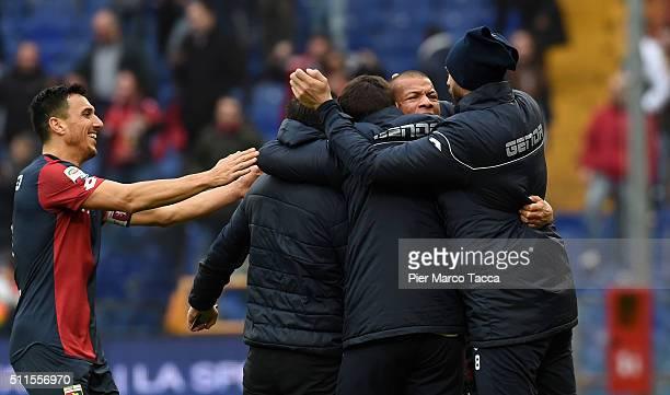 Sebastien De Maio of Genoa CFC celebrates his first goal during the Serie A match between Genoa CFC and Udinese Calcio at Stadio Luigi Ferraris on...