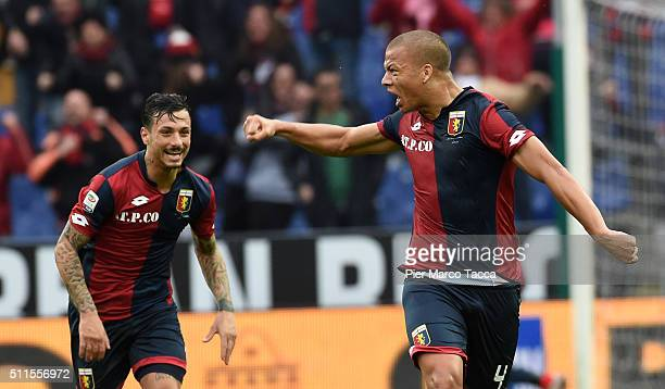 Sebastien De Maio of Genoa CFC celebrates his first goal during the Serie A match between Genoa CFC and Udinese Calcio at Stadio Luigi Ferraris on...