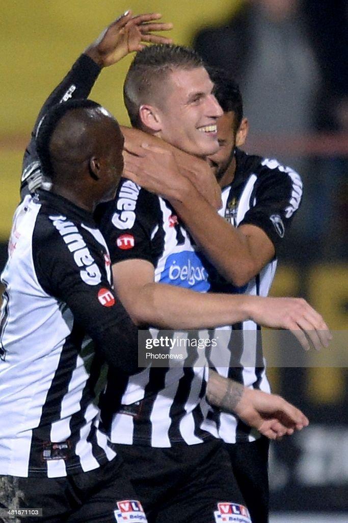 Sebastien Dewaest of Charleroi celebrates scoring a goal during the Jupiler Pro League play off 2 match between KV Mechelen and Royal Charleroi...