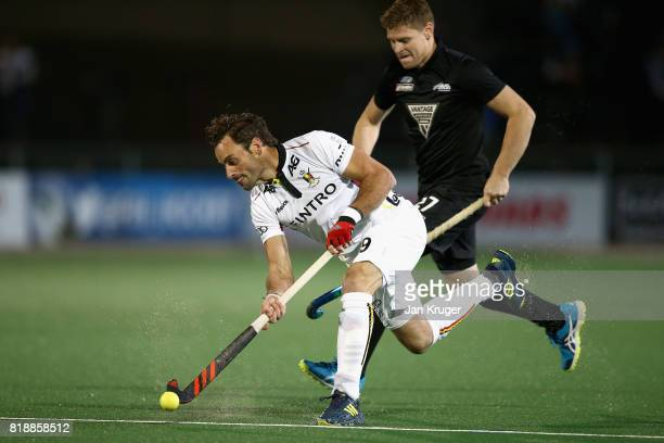 Sebastien Dockier of Belgium in action during the Quarter final match between Belgium and New Zealand during Day 6 of the FIH Hockey World League...