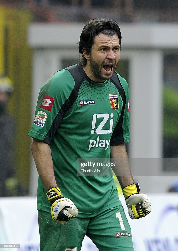 <a gi-track='captionPersonalityLinkClicked' href=/galleries/search?phrase=Sebastien+Frey&family=editorial&specificpeople=2131644 ng-click='$event.stopPropagation()'>Sebastien Frey</a> of Genoa CFC reacts during the Serie A match between FC Internazionale Milano and Genoa CFC at San Siro Stadium on December 22, 2012 in Milan, Italy.