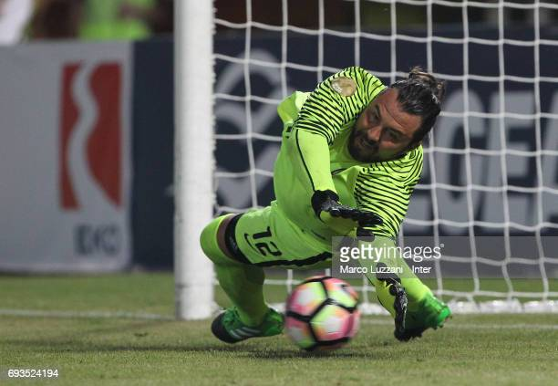 Sebastien Frey of Inter Forever makes a save during the friendlt match between Greece 2004 and Inter Forever at Pankrition Stadium on June 7 2017 in...