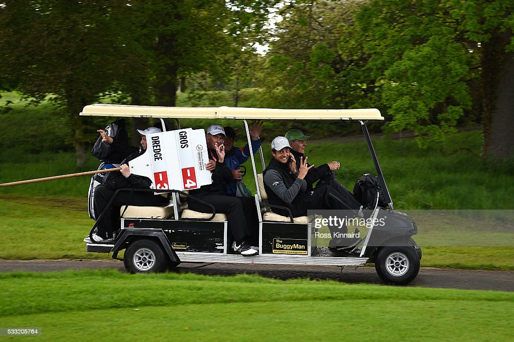 <a gi-track='captionPersonalityLinkClicked' href=/galleries/search?phrase=Sebastien+Gros&family=editorial&specificpeople=7865464 ng-click='$event.stopPropagation()'>Sebastien Gros</a> of France heads for the clubhouse as play is suspended during the third round of the Dubai Duty Free Irish Open Hosted by the Rory Foundation at The K Club on May 21, 2016 in Straffan, Ireland.