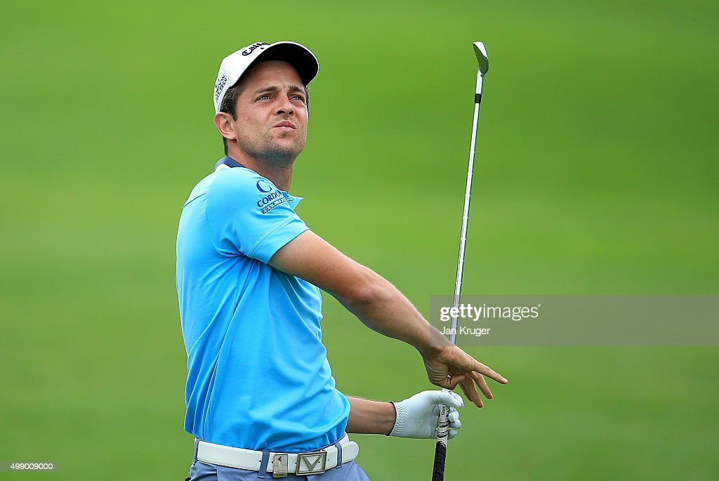 <a gi-track='captionPersonalityLinkClicked' href=/galleries/search?phrase=Sebastien+Gros&family=editorial&specificpeople=7865464 ng-click='$event.stopPropagation()'>Sebastien Gros</a> of France plays an approach shot on the 9th hole during day three of the Alfred Dunhill Championship at Leopard Creek Country Golf Club on November 28, 2015 in Malelane, South Africa.