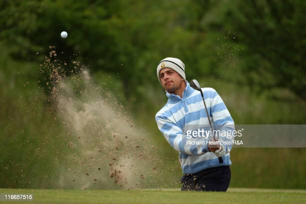 Sebastien Gros of France plays from a greenside bunker on the 4th during his quarter final match against Joakim Mikkelsen of Norway at The Amateur...