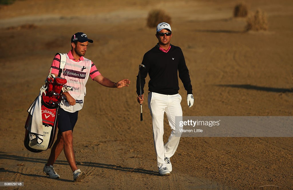 <a gi-track='captionPersonalityLinkClicked' href=/galleries/search?phrase=Sebastien+Gros&family=editorial&specificpeople=7865464 ng-click='$event.stopPropagation()'>Sebastien Gros</a> of France walks with his caddie on the 3rd hole during the second round of the Omega Dubai Desert Classic at the Emirates Golf Club on February 5, 2016 in Dubai, United Arab Emirates.