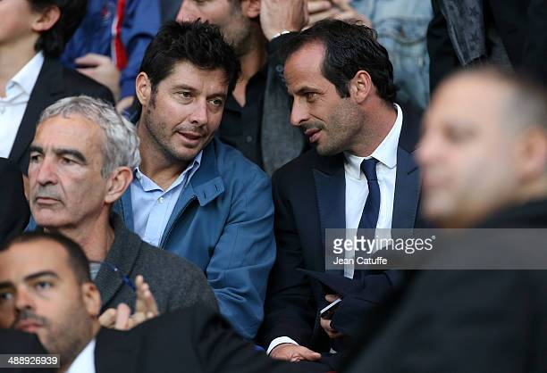 Sebastien Grosjean and Ludovic Giuly attend the french Ligue 1 match between Paris SaintGermain FC and Stade Rennais FC at Parc des Princes stadium...