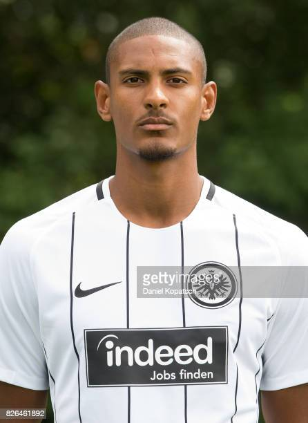 Sebastien Haller of Eintracht Frankfurt poses during the team presentation at on August 4 2017 in Frankfurt am Main Germany